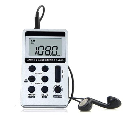 Portable AM / FM Two Bands Rechargeable Stereo Radio Mini Receiver with & LCD Screen & Earphone Jack & Lanyard (White)