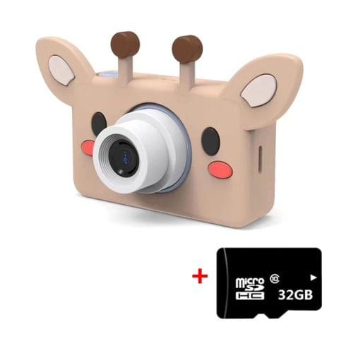 D9 800W Pixel Lens Fashion Thin and Light Mini Digital Sport Camera with 2.0 inch Screen & Giraffe Shape Protective Case & 32G Memory for Children