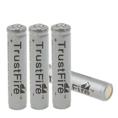 4 PCS TrustFire TR 10440 600mAh 3.7V Long Lasting Rechargeable Lithium ion Battery with Circuit Protection(Grey)
