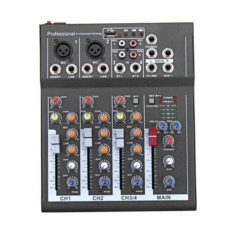 4 Channel Professional Karaoke Audio Mixer Amplifier Mini Microphone Sound Mixing Console with USB 48V Phantom Power Supply