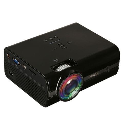 Uhappy U45 1600 Lumens 1080P LED HD Mini Projector Home Theater with Remote Control , Support USB + VGA + SD + HDMI + AV + TV(Black)