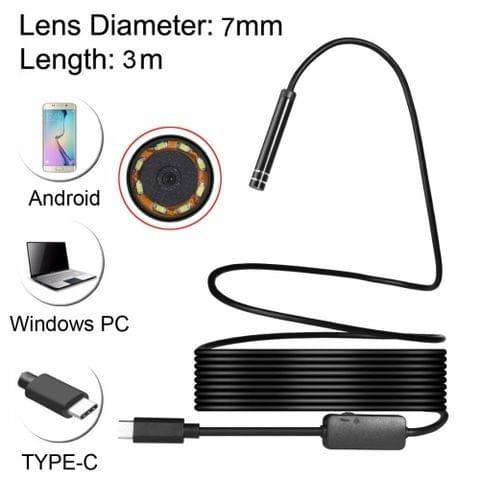 USB-C / Type-C Endoscope Waterproof IP67 Snake Tube Inspection Camera with 8 LED & USB Adapter, Length: 3m, Lens Diameter: 7mm