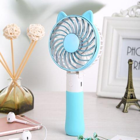 SEMA Portable USB Rechargeable 3 Speeds Folding Cooling Handheld Personal Fan with LED Light(Blue)