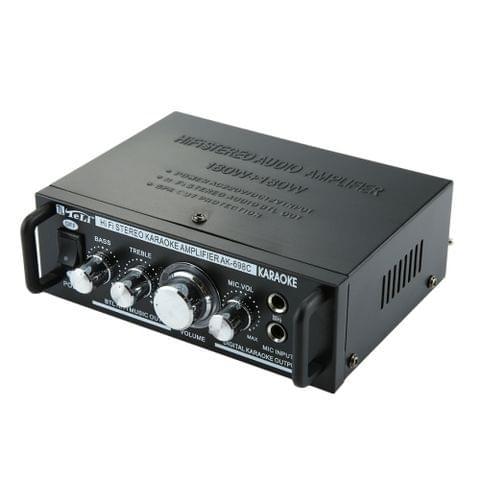 AK698C HiFi Stereo Audio 180W + 180W Power Amplifier, Support 2CH MIC Input, AC 220V / DC 12V(Black)                                               ()