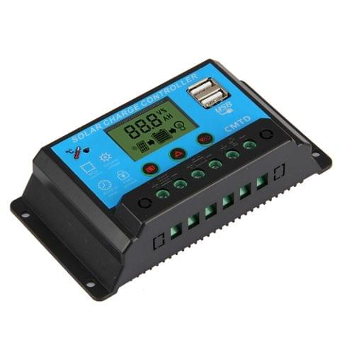 CMTD-2420 20A 12V/24V Solar Charge / Discharge Controller with LED Display & Dual USB Ports