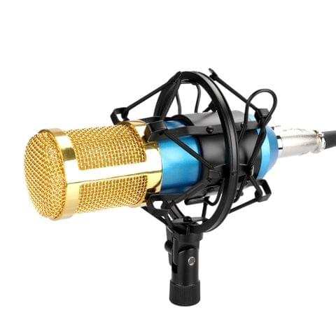 FIFINE F-800 Professional Condenser Sound Recording Microphone with Shock Mount for Studio Radio Broadcasting & Live Boardcast, 3.5mm Earphone Port, Cable Length: 2.5m(Blue)