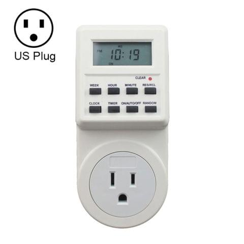 AC 120V Smart Home Plug-in LCD Display Clock Summer Time Function 12/24 Hours Changeable Timer Switch Socket, US Plug