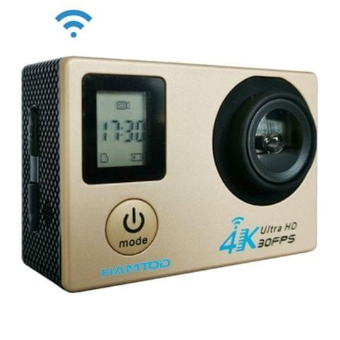 HAMTOD H12 UHD 4K WiFi  Sport Camera with Waterproof Case, Generalplus 4247, 0.66 inch + 2.0 inch LCD Screen, 170 Degree Wide Angle Lens (Gold)