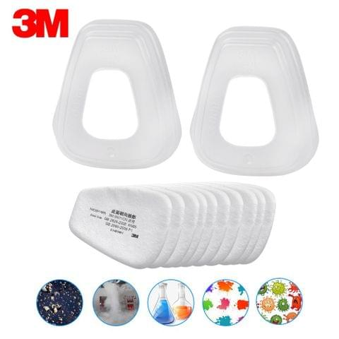 3M 5N11 10PCS Filter Cotton & 2PCS 501 Filter cover N95 Particulate Filter for Gas Mask Respirator Use with 6000 Series Filter Cartridges