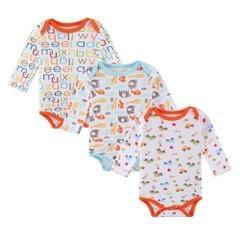3pcs Baby Rompe Bodysuit Clothes Set Unisex 100% Cotton Long Sleeve Baby Clothing 0-3M