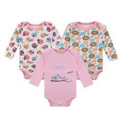 3pcs Baby Rompe Bodysuit Clothes Set 100% Cotton Long Sleeve For Newborn Baby Infant Girl 0-3M