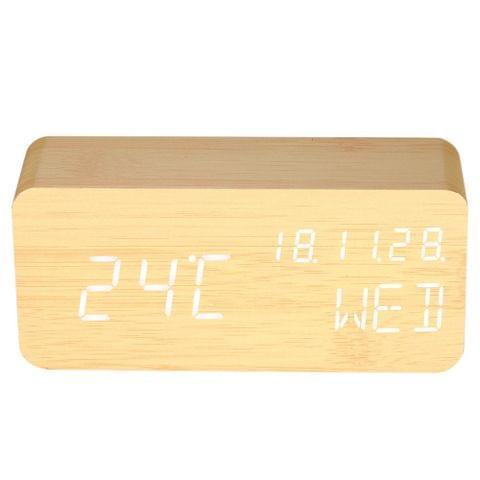 Wooden LED Digital Sound Control Alarm Clock