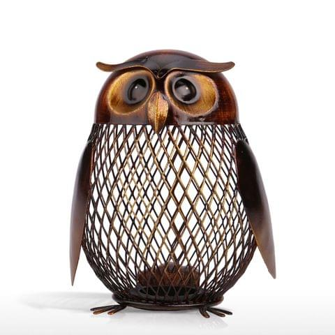 Tooarts Owl Shaped Metal Coin Box Home Furnishing Articles Crafting
