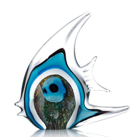 Blue Stripe Tropical Fish Tooarts Glass Sculpture Home Decoration Glass Fish