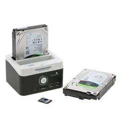 "Multifunctional 2.5""/ 3.5"" USB 3.0 to SATA External HDD Hard Drive Docking Station Card Reader USB3.0 Hub with OTB/OTC Offline Clone/ Duplicator US Plug 8TB"