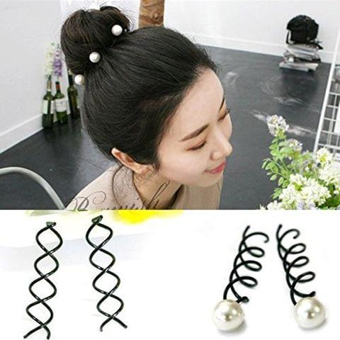 STRIPES Black Metal and Pearl Spiral Twist Barrette Hair Styling Bun Pin for Women/Girls (Pack of 5 PCS)