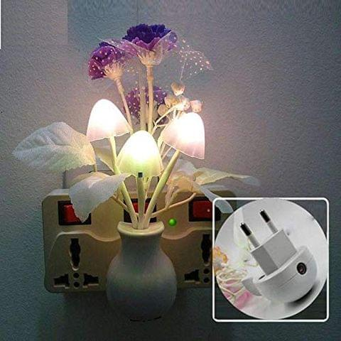 STRIPES Beautiful and Romantic Purple-Color Flower with Mushroom and Leaf Sensor Led Night Lights for Home