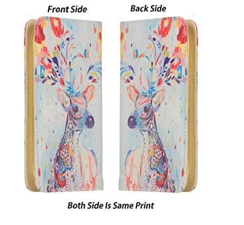 STRIPES Hand-Painted Canvas Zipper Around Clutch Wallet Large Travel Purse for Women/Girls (Deer Print)
