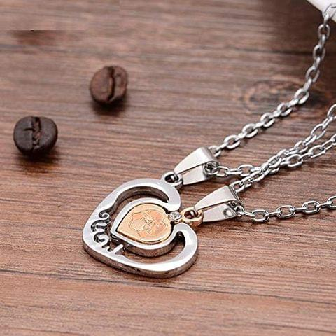STRIPES Heart Shaped Pendant Silver Stainless Steel Necklaces for Men and Women -Set of 2