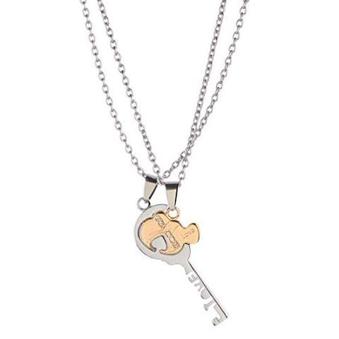 STRIPES Stainless Steel Two Silver and Gold Color Key Shaped Pendant Necklaces for Couples, Lovers Jewelry Valentine Gift(Set of 2)
