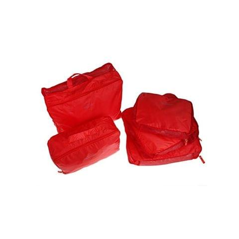 Set of 5 Travel Luggage Finishing Clothing Package Waterproof Bags-Red
