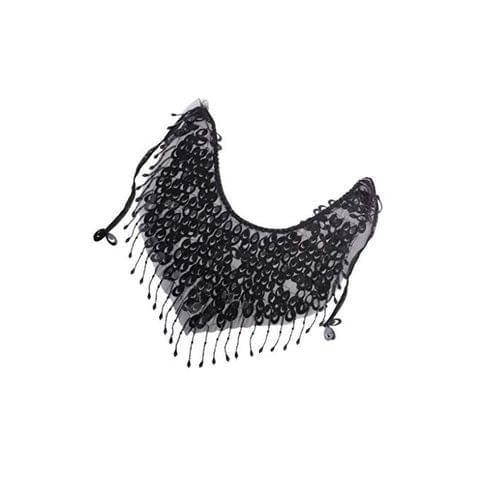 Black Belly Dance Mesh Sequins Face Veil Dancing Veil Scarf