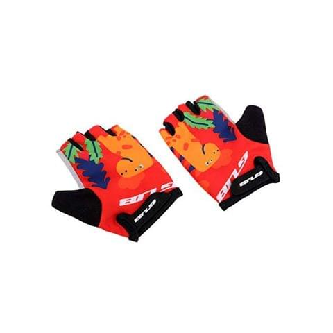 Kids Breathable Cycling Riding Gloves with Pad Strap for Children Youth Pink Cat Blue Car