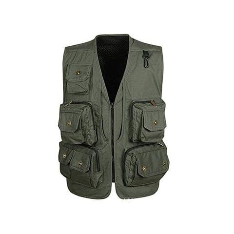 Generic Multi Pockets Jacket Mesh Vest Costume Waistcoat for Fly Fishing Outdoor Hunting Photo Journalist Travel Green L XL 2XL 3XL