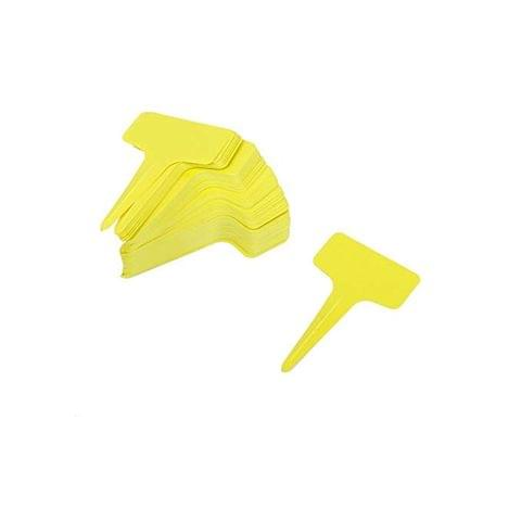 Generic 100pcs 10cm x 6cm Yellow Plastic T-Type Plant Shrub Tree Seeds Tags Markers Nursery Garden Labels Pot
