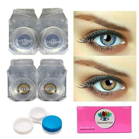 Gold Look Blue-Hazel Monthly Color Contact Lens (Zero Power, Blue-Hazel)