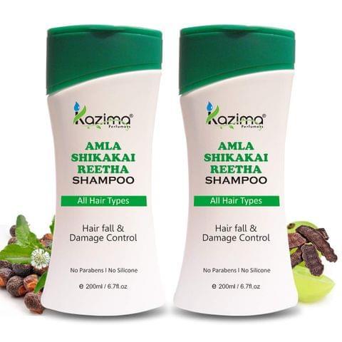 KAZIMA Amla Shikakai Reetha Shampoo (200ml Pack of 2) with Milk Protein, Multivitamins For Hair fall and Damage, Fast Hair Growth, Healthy Scalp, Removes Dandruff & Lice