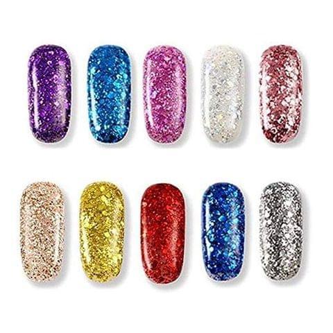 Ramanta Multi-Colored Nail Art Thick Dry Shinning Glitters - Pack of 12 PCs