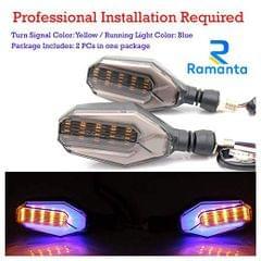 Ramanta 2X Universal Motorcycle Bike LED Turn Signal Blinker Light Indicator for KTM RC200 (Twice Color, Blue+Yellow)