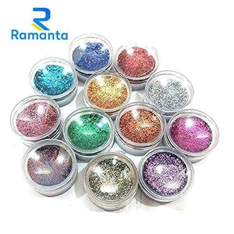 Ramanta Eye Glitter/Nail Glitter Set (Pack of 12 Glitters)