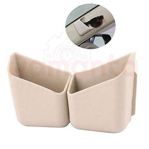 Ramanta 2X Car Pillar Pocket Holder Box Cigarette Cellphone Sunglass Holder Car Organizers for Car (Beige)