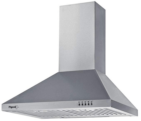 Pigeon 60cm 860 m3/hr Chimney (Sterling DLX, 2 Baffle Filters, Steel/Grey)