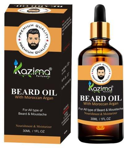 KAZIMA Premium Quality Beard & Moustache Oil For Men (30ml) - with Moroccan Argan Oil Ideal For Thick Soft And Healthy Hair growth, Faster Growing Beard