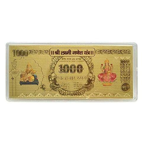 Aryshaa Kuber Lakshmi Gold Foil Currency Note for Enhancement of Wealth Gift.