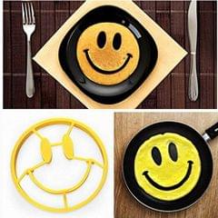 Aryshaa High Quality Smiley Face Egg Mold Silicone Round Smile Shaped Egg Pancakes Rings Egg Kitchen Tool Fried Egg Mold Assorted Colours-(Pack of 1)