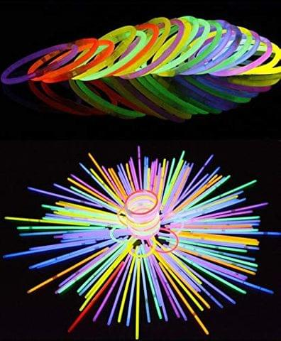 Premium Quality Glow in The Dark Bangles Sticks - (Box of 100 Sticks and More Than 10 Hour Light Life) Best for New Year Party