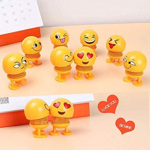Aryshaa Funny Cute Emoji Bobble Head Dolls, Funny Smiley Different Face Springs Dancing Toys for Car Dashboard & and Best Gift for All (Pack of 10)