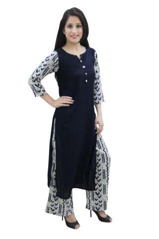 Blue Color Solid Kurta With Printed Sleeves