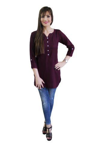 Wine Purple Shirt Style Short Kurti