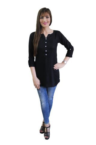 Solid Black Shirt Style Short Kurti