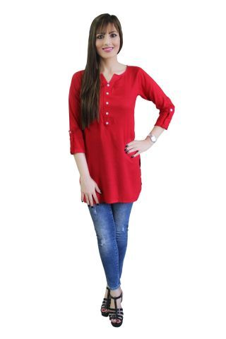 Solid Red Shirt Style Short Kurti