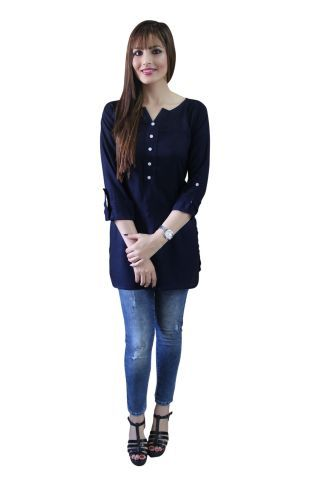 Navy Blue Shirt Style Short Kurti