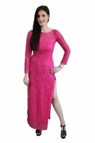 Pink Color Net High Slit Maxi Top