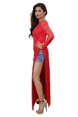 Red Color Net High Slit Maxi Top