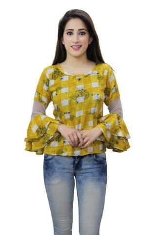 Mustard colour checks printed frill sleeves casual top