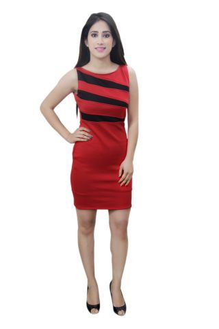 Red and Black colour designer party wear dress